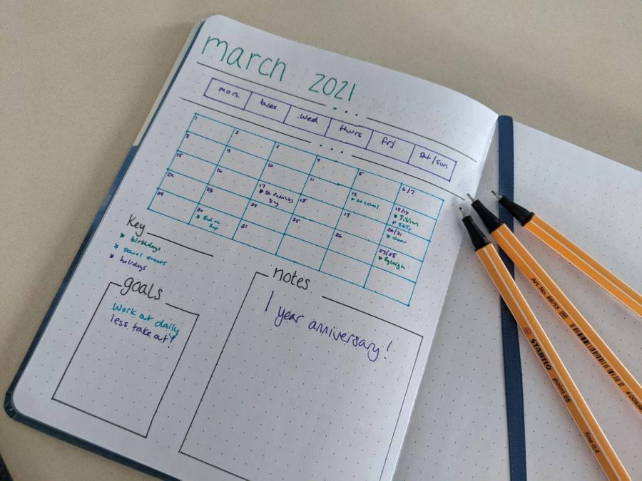 ON THE DOTTED LINE: Using journals like this dotted one can help you stay organized while also being creative and colorful.
