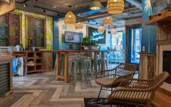 LIFE AT THE BEACH: The inside of Playa Bowls is decorated to resemble aspects of a tropical beach paradise, playa literally means beach in Spanish. The old Wardeckers location was renovated to fit the new restaurants style.